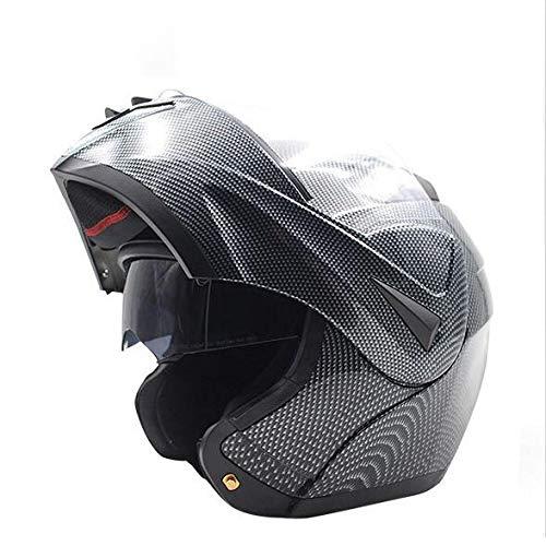 Lijun Casco Moto Casco Moto Casco Integrale Ventilazione Variabile A Mezzo Casco Antiurto Casco Anti-UV Antiurto con Specchio in Vetro HD A Doppio Strato Ampio Campo Visivo,Carbonfiber-M