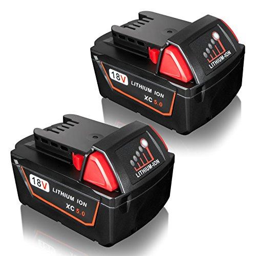 FLAGPOWER 18V 5.0Ah Werkzeug Batterie Ersatz Milwaukee Akku 18V für Milwaukee M18 XC 48-11-1815 48-11-1820 2601 2610 2611 2620 2630 2650 (5000mAh 2 Stück) Combo Driver Bits