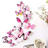 DIKHBJWQ 12pcs Aufkleber Wandaufkleber Home Dekorationen 3D Butterfly Rainbow Pink