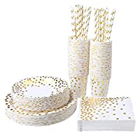 Aneco 250 Pieces Gold Foil Party Supplies Party Tableware Foil Paper Plates Napkins Cups Straws for Weddings, Anniversary, Birthday for 50 Guests