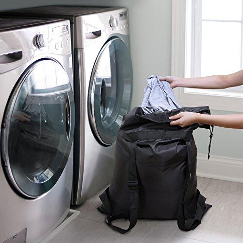 Lifewit Wäsche Rucksack, Wäschesammler mit verstellbaren Schulterriemen, Aufbewahrungsbeutel für Schul-Schlafsaal Waschküche Outdoor-Reise Oxford Tuch 60.5 x 92cm Schwarz