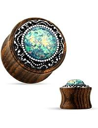 Piercingfaktor Organischer Holz Ohr Tunnel Plug Piercing Tribal mit Opal oder Perle