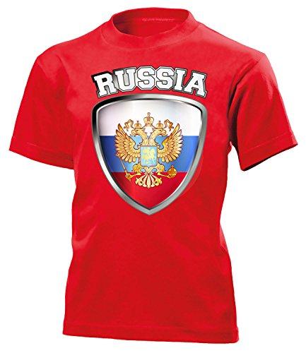 Russland ?????? Russia Fan t Shirt Artikel 3206 Fan Fuss Ball Kinder Kids Jungen Mädchen Unisex EM 2020 WM 2022 Trikot Look Flagge World Cup 152