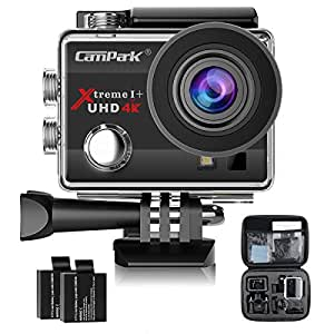 Campark ACT74 Action Camera 4K WiFi Sport Cam 16MP Underwater 30M 170°Wide View Angle 2.0 Inch LCD Screen with 2 Batteries and Portable Package