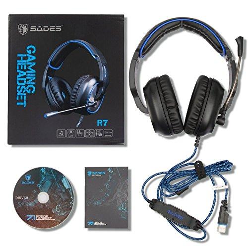 Sades R7 Over Ear Stereo Bass Gaming Headsets, USB Gaming Kopfhörer Dolby 7.1-Surround-Sound, Mikrofon mit Rauschunterdrückung für PC Laptop Tablet Smart Phones Niedrigen Preis-smart-telefone