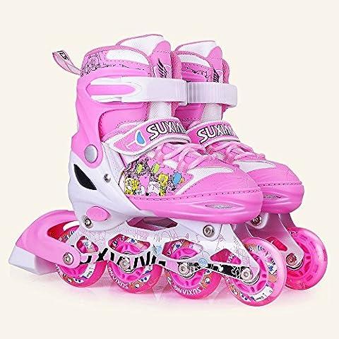 Crayom Sicherheit Keine Angst Kinder Hot Quad Skates Verstellbare Roller Stiefel Inline gerade Skate Kinder Kinder Mann Erwachsene Unisex Board verschenken Spree ( Color : Pink , Size : L )