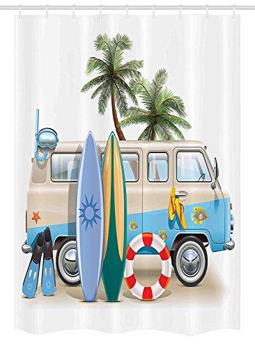 GAOFENFFR Rideau de Rideau Concept de Week-End de Surf avec éléments de plongée Palmes Snorkeling et Van Trip Relax Peace Décor des Set avecs Multicouleur