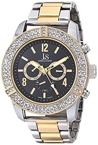 Joshua & Sons Men's JS81TTG Silver and Yellow Gold Multifunction