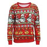 Soupliebe Frauen Weihnachten Drucken V Ausschnitt Langarm unregelmäßige Hemdbluse Kapuzen Sweatjacke Kapuzenpullover Hoodie Pullover Sweatshirt