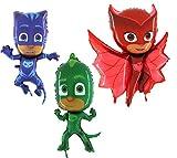 Toyland PJ Mascaras Juego de 3 Globos de Papel con Forma de Hoja - Catboy, Gekko y Owlette - Suministros para Fiestas Infantiles