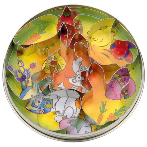 Städter 023611 Plätzchen-Ausstecher Ostern (Hase mit Schlappohr, Möhre, Hasengesicht, Ei, Küken und Blume), 6-teilig, weißblech