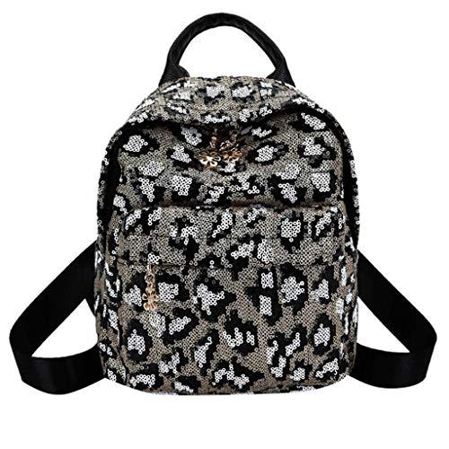 LUXISDE Damen Mädchen Pailletten Mini Leopardenmuster Schulrucksack Umhängetasche Reisetasche, Weiá (weiß), Einheitsgröße