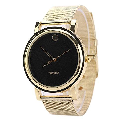Minetom Elegante Frauen Runde goldene Legierung Gürtel Armbanduhr Quarz-Armbanduhr Uhr Top Watch ( Schwarz )