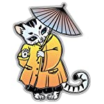 SkyBug Japanese Cat Flash Style Umbrella Bumper Sticker Vinyl Art Decal for Car Truck Van Wall Window (20 X 24 cm)