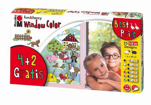 Marabu 040600101 - Window Color-Set 6 x 80 ml Farmer`s World