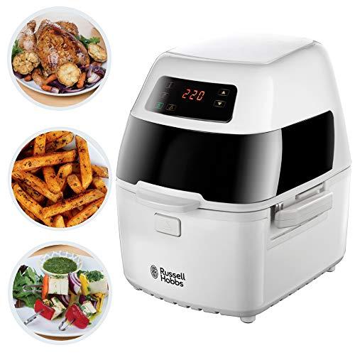 Russell Hobbs 22101-56 Heißluft-Fritteuse Cyclofry Plus, rotierender Frittierkorb, Rotisseriespieß, Kebab-Zubehör, Grillrost, weiß/schwarz