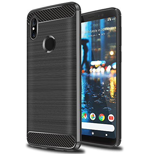 Ferlinso Cover Xiaomi Mi Mix 2s Custodia, Case Cover Armatura Ruggente Armatura Hybrid Defender Custodia in Silicone Protettiva antiurto Custodia in fibra di carbonio per Xiaomi Mi Mix 2s (Nero)