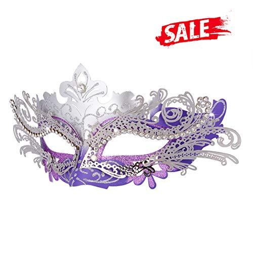 Hoshin Maskerade Maske, Karneval Dekorationen Venezianische Masken für Frauen (Lila & Silber)