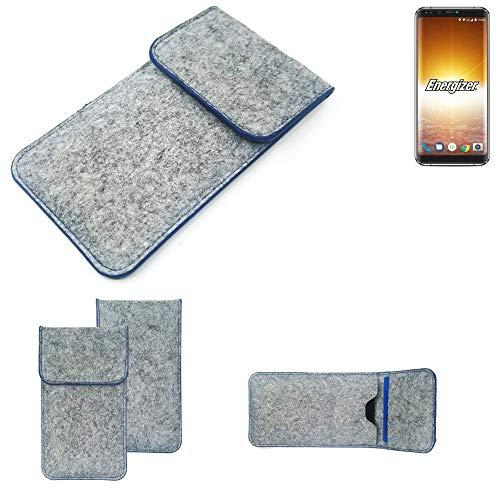 K-S-Trade® Filz Schutz Hülle Für Energizer P600S Schutzhülle Filztasche Pouch Tasche Case Sleeve Handyhülle Filzhülle Hellgrau, Blauer Rand