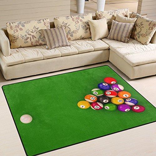 Domoko Funny Billard Balls mit Zahlen Bereich Teppich Teppiche Matte für Wohnzimmer Schlafzimmer, Textil, Mehrfarbig, 160cm x 122cm(5.3 x 4 feet)