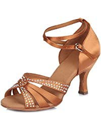 SWDZM Mujer estándar Zapatos de baile latinos Satén Strass Ballroom modelo IA-4200