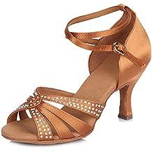 HIPPOSEUS Zapatos de La Danza de Salón de Baile/Zapatos de Baile con Diamante de Imitación/Zapatos Latinos de el Satén Mujeres,Modelo ESAF409