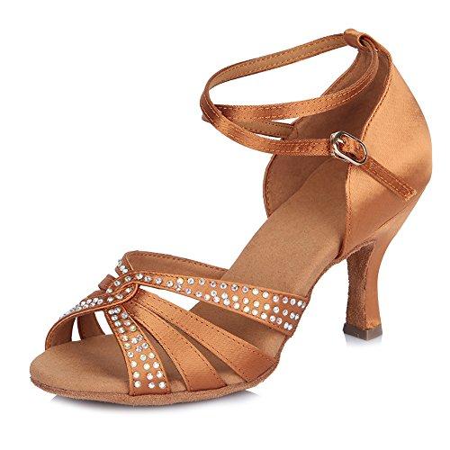 HIPPOSEUS Mujer Zapatos de salón de Baile para, Diamantes de imitación, Dedos Abiertos,ESAF40902,Marrón Color,EU 40
