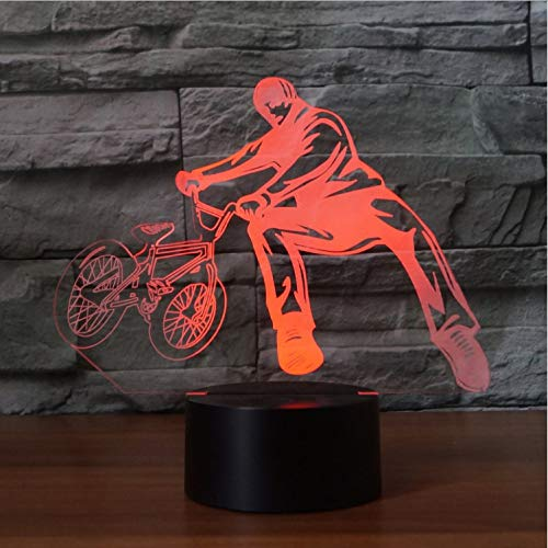 Comodino 3D Desk Lamp 7 Colori Cambia Bicicletta Limit Movimento Nightlights Decorazione Led Bmx Trickster Camera Da Letto Dormire Illuminazione Regali