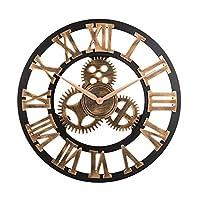 Vintage Analog Clock 3D Gear Roman Numerals Design Quartz Clock for House Decoration