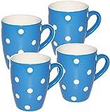 Unbekannt 4 Stück _ Kaffeetassen / Henkeltassen -  Punkte - BLAU & weiß  - groß - 300 ml - Keramik / Porzellan - Teetasse - Mikrowellengeeignet - Trinktasse mit Henke..