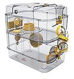 Gabbia Habitat per Criceto MOD. RODY 3 Duo Colore Banana Completa di Accessori Mis. 41x27x40h con Tubi e Giochi
