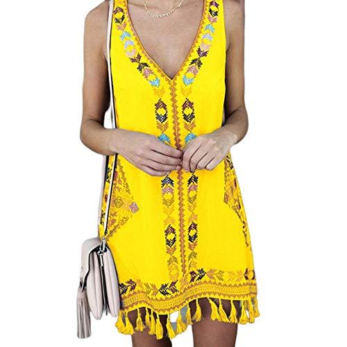 FeiXing158 Sommerkleid 2019 Mode ärmellos kurzen Absatz böhmischen ethnischen Vintage Kleid Dame