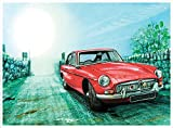 Rot Hot Lemon 41x 30x 0,02cm MG MGB Aquarell Country Lane Wand Zeichen, rot