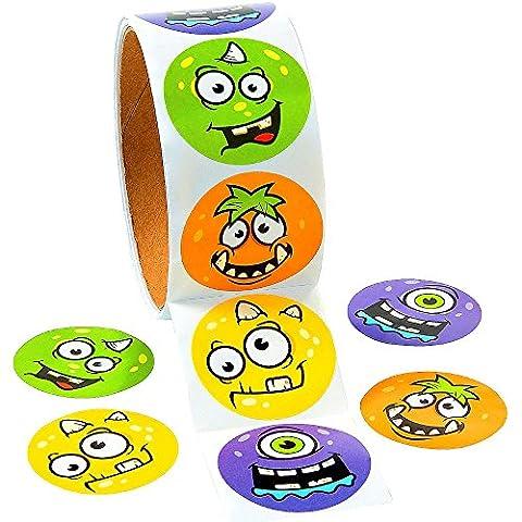 German Trendseller® - 100 monstre sticker en rouleau┃autocollants pour des enfants┃plusieurs monstres┃différents motifs