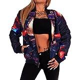 Digitaldruck Jacke Kurzjacke | Wendejacke | beidseitig tragbar| Kurze Übergangsjacke | Frauen Bomberjacke | Fliegerjacke | Pilotenjacke | Bikerjacke | Baseball-Jacke | Printjacke