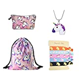 DRESHOW Unicorn Gifts for Girls 4 Pack - Unicornio Mochila con cordón/Maquillaje...