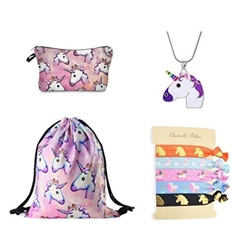 (DRESHOW Einhorn Geschenke für Mädchen 4 Pack - Einhorn Kordelzug Rucksack/Make-up Tasche/Halskette Legierung Kette/Haargummis)