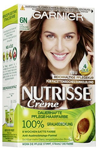 Garnier Nutrisse Creme Coloration Nude Natürliches Dunkelblond 6N / Färbung für Haare für permanente Haarfarbe (mit 3 nährenden Ölen) - 3 x 1 Stück -