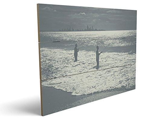 Angler am Meer, qualitatives MDF-Holzbild im Drei-Brett-Design mit hochwertigem und ökologischem UV-Druck Format: 100x70cm, hervorragend als Wanddekoration für Ihr Büro oder Zimmer, ein Hingucker, kein Leinwand-Bild oder Gemälde (Leopard-druck-leder-boot)