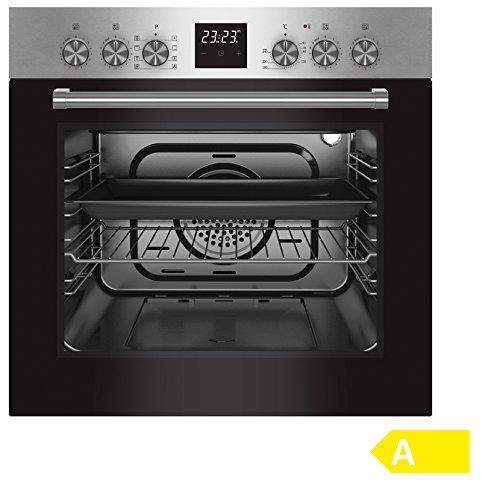 Bomann EHBC 559 IX Einbau-Elektroherd/Glaskeramik-Kochfeld-Set, 4 High-Light Kochzonen inkl. 1 Bräterzone, EEK A, 60 L, 0,85 kWh, Edelstahl-Blende/Griff