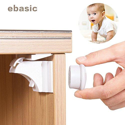 eBasic Magic Lock schubladensicherung mit magnet Babysicherheit – schrankschloss ohne schrauben und Bohren – geeignet für Ihre Schränke / Gehäuse / Schubladen, 4er Pack