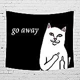 Leinwandbild, Motiv Katze go Away! Innendekoration, Einfarbig, Design und Sehr realistisch; Kollektion Schwarz und Weiß, Trend Instagram 2018 (130 x 150 cm)