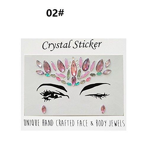 Huihuger Musik Festival Party Glitter Strass Tattoo Gesicht Juwelen Kristalle Gesicht Aufkleber Augenbraue Schmuck (Farbe : 02#) - Juwelen Tattoos