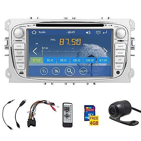 7-inch digital touchScreen bluetooth Car DVD Player GPS navi car stereo Radio For Ford Focus 2008-2010 FAST 800 MHz CPU Built-in Bluetooth FM AM radio ipod Audio headunit+8GB Standard GPS Map Card+Free HD rearview camera