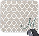 Gaming Mouse Pad Elegantes Tan-Gittermuster. Aquamarines Monogramm Design für Desktop und Laptop 1 Packung 30x25 cm