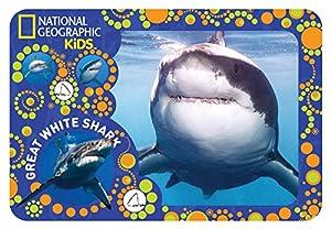 National Geographic NG40103 - Mantel Individual para niño, diseño de tiburón, Color Blanco