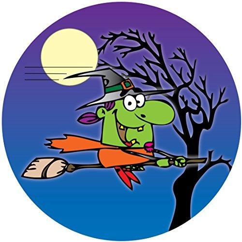 Neuheit HALLOWEEN Cartoon Hexe Besenstil Baum 19.1cm Essbar Glasur Tortenaufsatz - Kuchen Dekoration - Halloween-cartoon-hexe