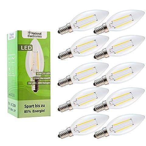 10x National Electronics® | E14 3W 300 Lumens LED | Lamp 230V AC 270 ° candle lamp warm white
