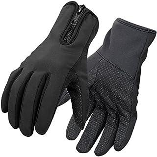 Aroncent Unisex Schwarz Handschuhe, Sport Handschuhe Warm Winddicht Gloves für Radfahren, Skifahren und Andere Outdoor-Aktivitäten, Size: L