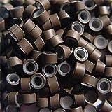 Silikon gefüttert Micro Ringe–200braun 5mm Ringe links für I Tip Haar und Feder Extensions
